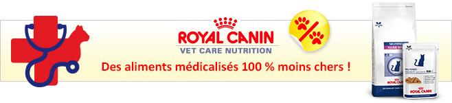 Croquettes et pâtée médicalisées Royal Canin Vet Care Nutrition pour chat
